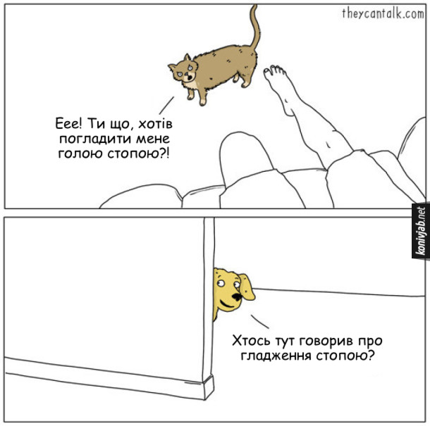 Комікс Різниця між котом і собакою. Господар сидить на крісля захотів погладити кота ступнею. Кіт відскочив обурився: - Еее! Ти що, хотів погладити мене голою стопою?! Тут в кімнату заглядає заінтригований пес: - Хтось тут говорив про гладження стопою?