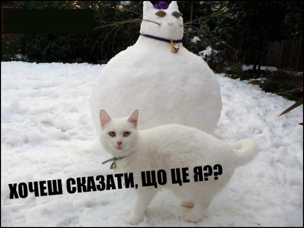 Кіт-сніговик. Зліпили сніговика, схожого на свого білого гладкого кота. Кіт це побачив і незадоволено запитав: - Хочеш сказати, що це я??