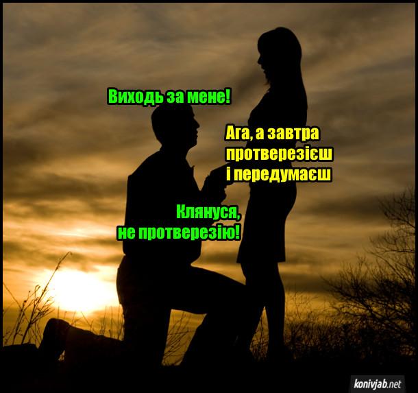 Пропозиція руки і серця. Він і вона на фоні заходу сонця. Хлопець: - Виходь за мене. Дівчина: - Ага, а завтра протверезієш і передумаєш. Хлопець: - Клянуся, не протверезію!