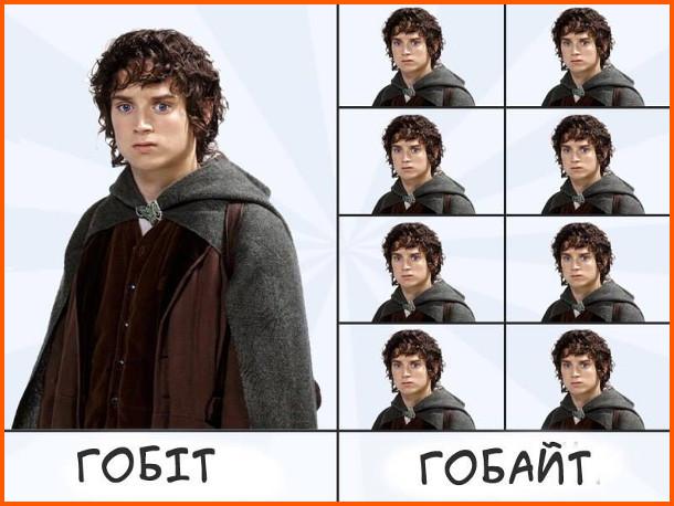 Мем про Володаря Кілець. Гобіт- один. Гобайт - 8 гобітів