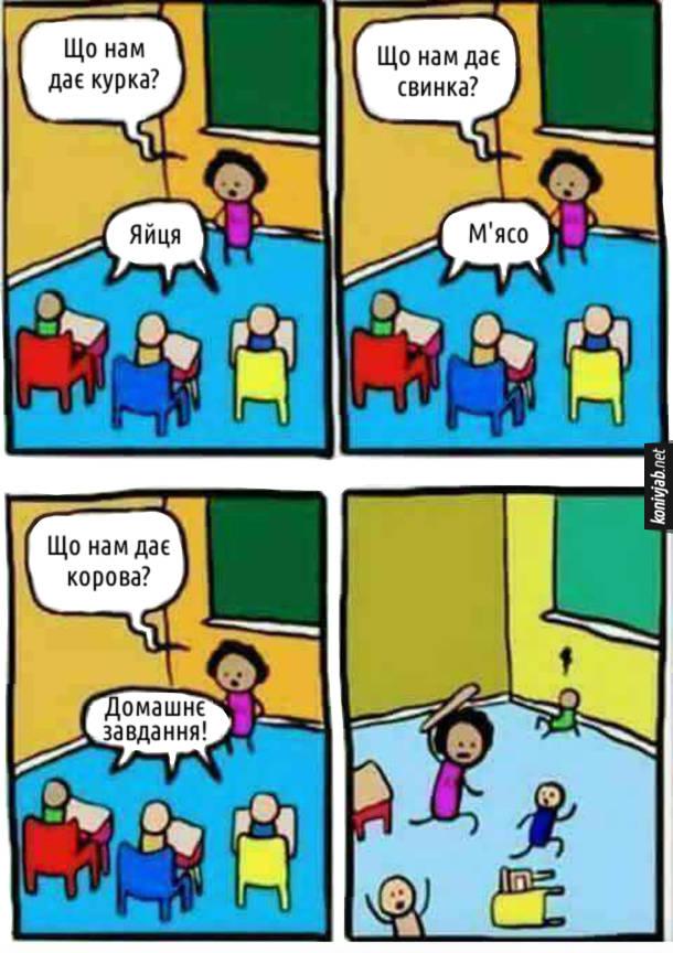Комікс про школу. Вчителька: - Що нам дає курка? Учні: - Яйця. Вчителька: - Що нам дає свинка? Учні: - М'ясо. Вчителька: - Що нам дає корова? Учні: - Домашнє завдання! Вчителька почала бігати за учнями і бити їх лінійкою