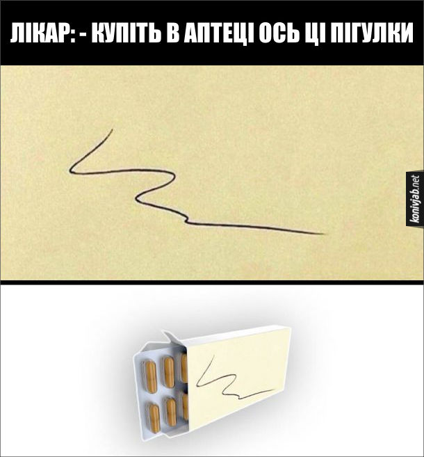 Прикол про лікарський почерк. Лікар: - Купіть в аптеці ось ці пігулки.На папірчику написав щось нерозбірливе. В аптеці на коробці пігулок надпис такий же нерозбірливий