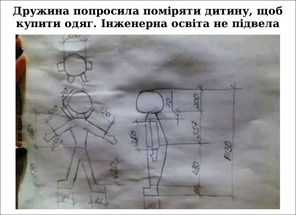 Прикол, жарт. Чоловіча логіка. Дружина попросила поміряти дитину, щоб купити одяг. Інженерна освіта не підвела.