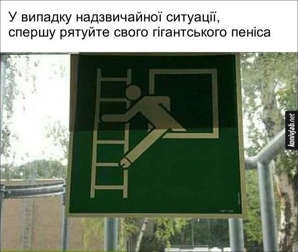 Смішний попереджувальний знак де людина з вікна вилазить на пожежну драбину, при цому одна нога намальована так, ніби це пенім. Розшифрувати можна так: У випадку надзвичайної ситуації, спершу рятуйте свого гігантського пеніса