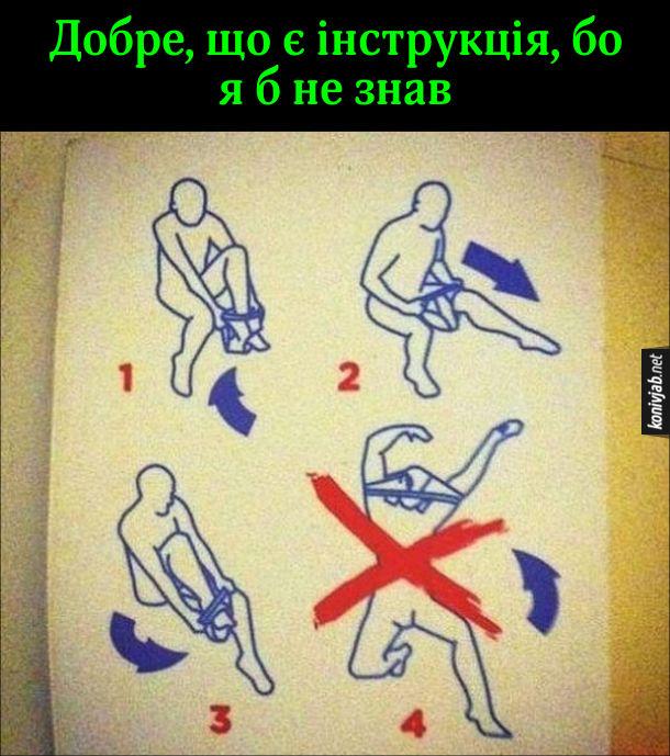 Смішна інструкція Як одягати труси. Показує, щоб не одягати через голову.  Добре, що є інструкція, бо я б не знав