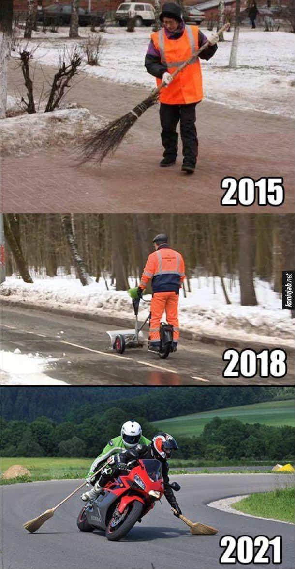 Жарт про двірників. 2015 рік - двірник мете мітлою. 2018-рік - двірник прибирає сніг на гіроскутері. 2021 рік - мотоциклісти метуть  дороги