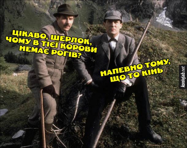 Дедукція. Жарт, сміх про Шерлока Холмса і Доктора Ватсона. Ватсон (Вотсон): Цікаво, Шерлок, чому в тієї корови немає рогів? Холмс: - Напевно тому, що то кінь