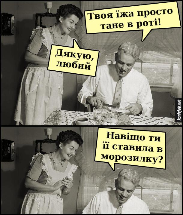 Жарт Дружина приготувала обід. Чоловік з дружиною на кухні. Чоловік: - Твоя їжа просто тане в роті! Дружина: - Дякую, любий. Чоловік: - Навіщо ти її ставила в морозилку?