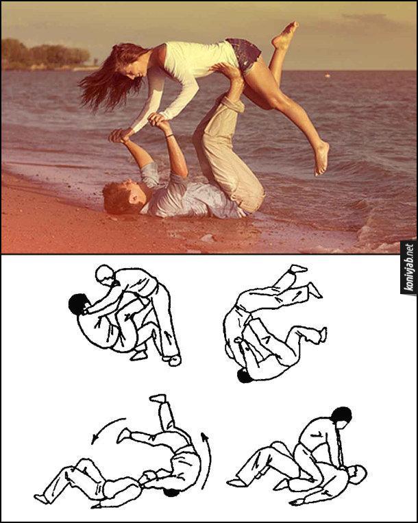 Романтичне фото на березі моря. Хлопець тримає дівчину, ніби робить захват і кидок через себе