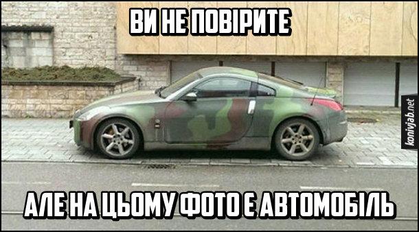 Жарт про маскування автомобіля. Автомобіль в кольорах камуфляжу. Ви не повірите, але на цьому фото є автомобіль