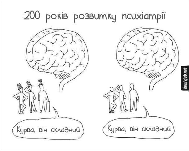 """Смішний малюнок, жарт про психіатрію. 200 років розвитку психіатрії. Що колись казали про мозок: """"Курва, він складний"""", так і зараз це кажуть"""