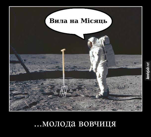 Мем Молода вовчиця. Астронавт на Місяці, біля нього встромнуті вила. Астронавт: - Вила на Місяць. ... молода вовчиця