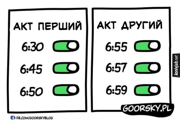 Жарт про будильник зранку. Акт перший: будильник виставлено на 6:30, 6:45, 6:50. Акт другий: будильник виставлено на 6:55, 6:57, 6:59