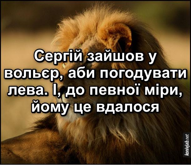 Анекдот про лева в зоопарку. Сергій зайшов у вольєр, аби погодувати лева. І, до певної міри, йому це вдалося