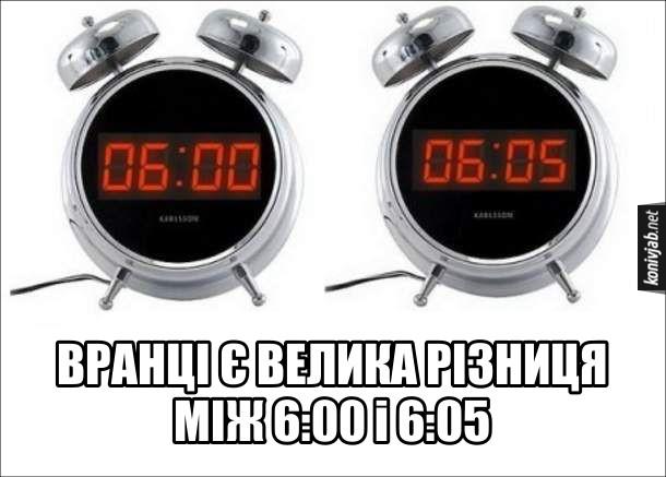 Прикол Будильник на 6. Вранці є велика різниця між 6:00 і 6:05