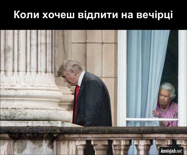 Прикол Трамп і королева Єлизавета. Коли хочеш відлити на вечірці. Трамп ніби пісяє під колоною, а за цим з вікна спостерігає королева Єлизавета