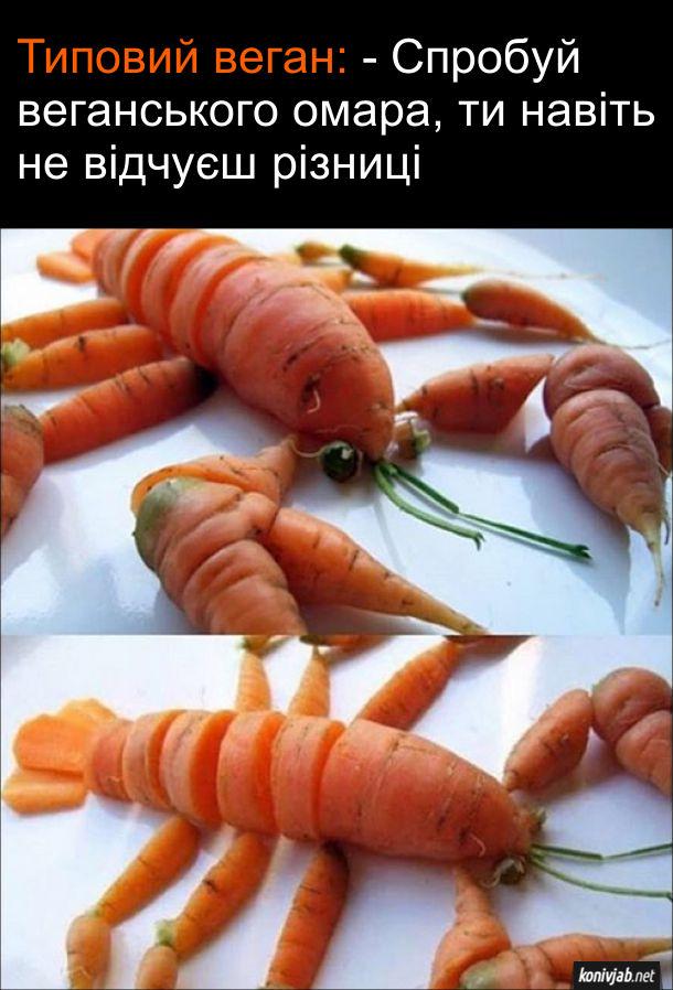 Прикол Веганська їжа. Типовий веган: - Спробуй веганського омара, ти навіть не відчуєш різниці. Омар, зроблений з моркви