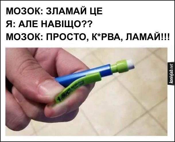 Чому на ручці ламають кліпсу. Мозао: Зламай це. Я: Але навіщо?? Мозок: Просто, курва, ламай!!!