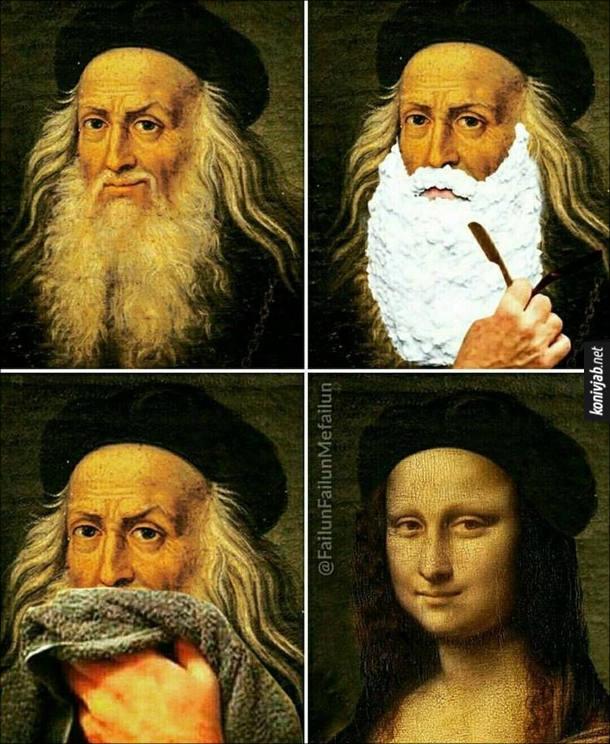 Прикол про да Вінчі. Коли да Вінчі зголив бороду, став схожим на Мону Лізу