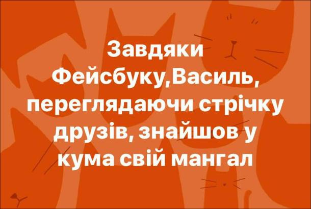 Анекдот про Фейсбук. Завдяки Фейсбуку, Василь, переглядаючи стрічку друзів, знайшов у кума власний мангал