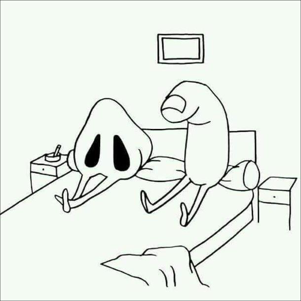 Смішний малюнок про колупання в носі. В ліжку після бурхливого сексу лежать ніс і палець