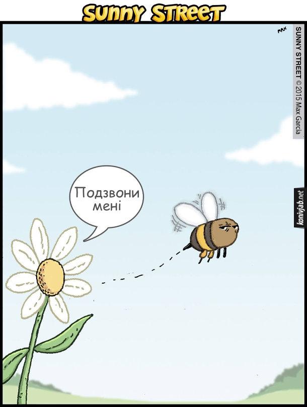 Смішний малюнок про бджолу і квітку. Після того, як бджола зібрала з квітки нектар і почала відлітати. Квітка: - Подзвони мені