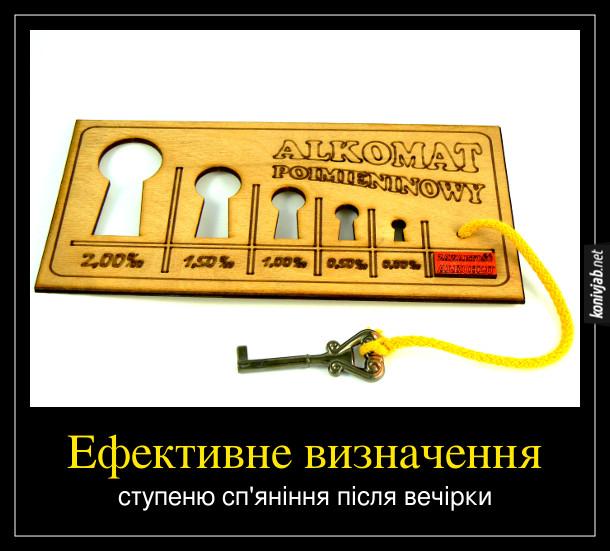 Демотиватор Алкотестер. Ефективне визначення ступеню сп'яніння після вечірки. Польський Alkomat. Дерев'яна дощечка з вирізаними отворами для ключів різного розміру. В комплекті також ключ