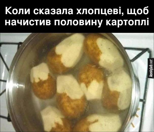 Прикол Хлопець почистив картоплю. Коли сказала хлопцеві, щоб начистив половину картоплі - Хлопець почистив кожну картоплину лише наполовину