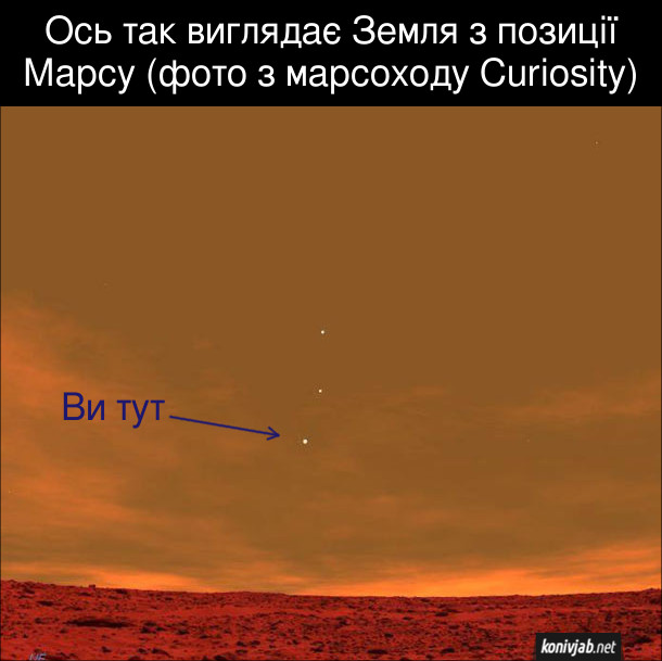 Ось так виглядає Земля з позиції Марсу (фото з марсоходу Curiosity). Три зірки в небі, ніжня - це Земля (Ви тут)