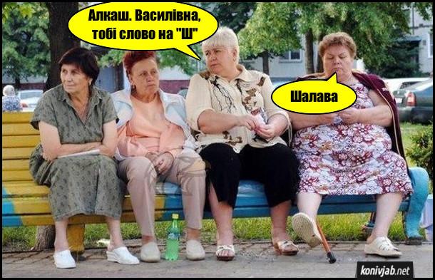 """Прикол. Бабці сидять на лавці і грають в слова. - Алкаш. Василівна, тобі слово на """"Ш"""". - Шалава"""