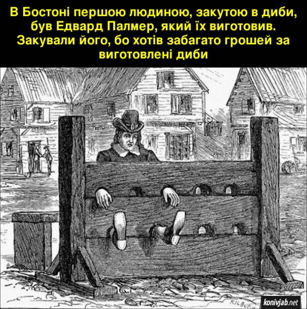 Історичний курйоз. В Бостоні першою людиною, закутою в диби, був Едвард Палмер, який їх виготовив. Закували його, бо хотів забагато грошей за виготовлені диби