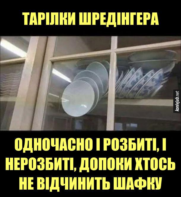 Прикол про квантову фізику. Тарілки Шредінгера - одночасно і розбиті, і нерозбиті, допоки хтось не відчинить шафку. В посудній шафці розсипалась гірка з тарілок і вони не падають лише тому, що закриті скляні дверцята