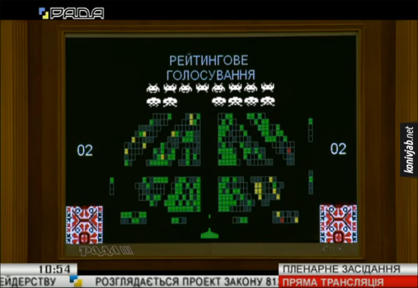 Прикол про Верховну Раду. Здалося, ніби табло у Верховній раді - це комп'ютерна гра Space Invaders