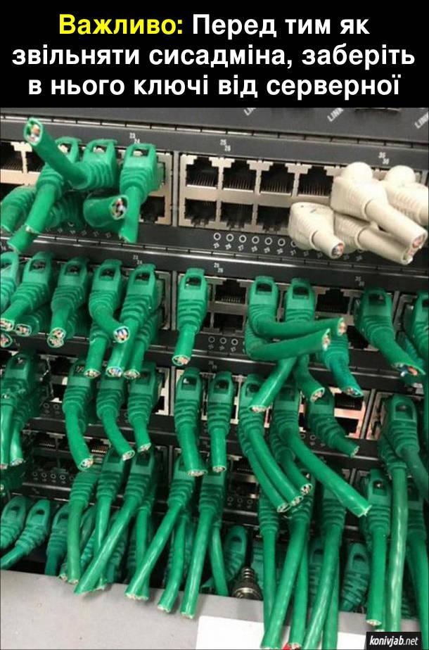 Жарт про сисадміна. Важливо: Перед тим як звільняти сисадміна, заберіть в нього ключі від серверної. Системний адміністратор помстився - повідрізав всі дроти в серверах