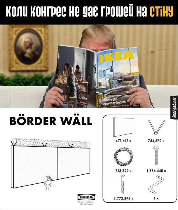 Прикол Стіна з Мексикою і шатдаун. Коли Конгрес не дає грошей на стіну, Дональд Трамп змушений робити її власноруч - читає інструкцію IKEA, як скласти стіну