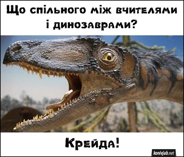 Смішна загадка. Що спільного між вчителями і динозаврами? Крейда!