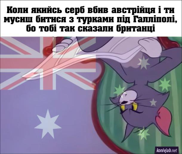 Мем Перша Світова війна. Коли якийсь серб вбив австрійця і ти мусиш битися з турками під Галліполі, бо тобі так сказали британці. Використано мем з Котом Томом з газетою в руках. Мем перевернутий догори дригом на тлі австралійського прапора