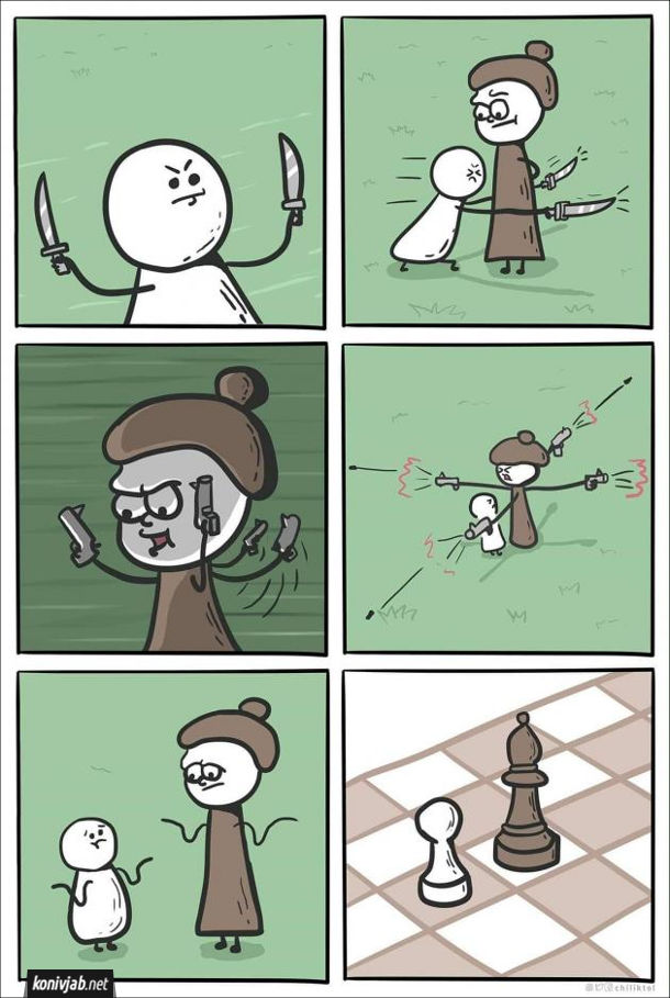 Комікс про шахи. Ситуація в шахах. Пішак хоче поранити слона, але не може влучити. Слон хоче застрелити пішака, але також не може влучити