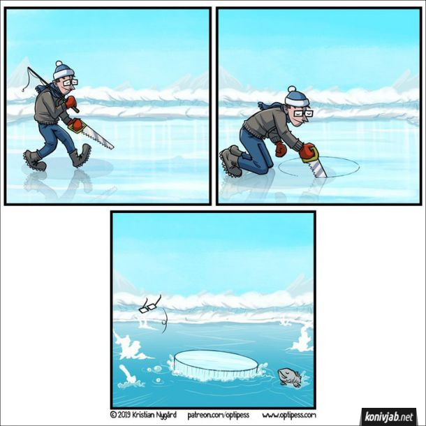 Комікс Зимова риболовля. Рибалка вийшов на лід і почав випилювати ножівкою ополонку, коли допиляв, ополонка залишилась на місці, а весь інший лід разом з рибалкою шубовсьнув під воду