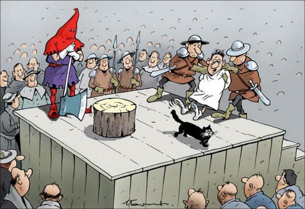 Чорний гумор Смішний малюнок про страту. На ешафот вартові виводять чоловіка, якому мають відрубати голову. Перед ним пробігла чорна кішка і він не хоче далі йти - боїться, що не пощастить