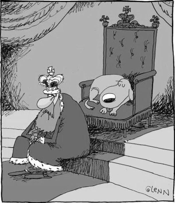 Смішний малюнок Король і пес. Король сидить на сходинці перед троном, а на троні спить його собака