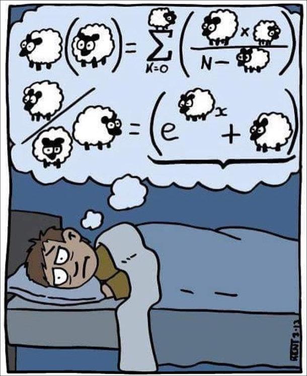 Смішний малюнок Безсоння. Чоловік, щоб заснути рахує овець, але вівці складаються у важкі формули і їх складно порахувати
