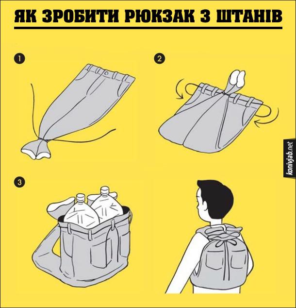 Як зробити рюкзак з штанів