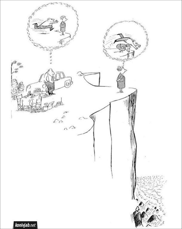 Карикатура Подружжя на пікніку на біля урвища. Дружина підійшла до краю і дивиться на море. Чоловік думає, як він її штовхне з урвища. Дружина думає, що коли він буде її штовхати, вона нахилиться і він полетить донизу замість неї