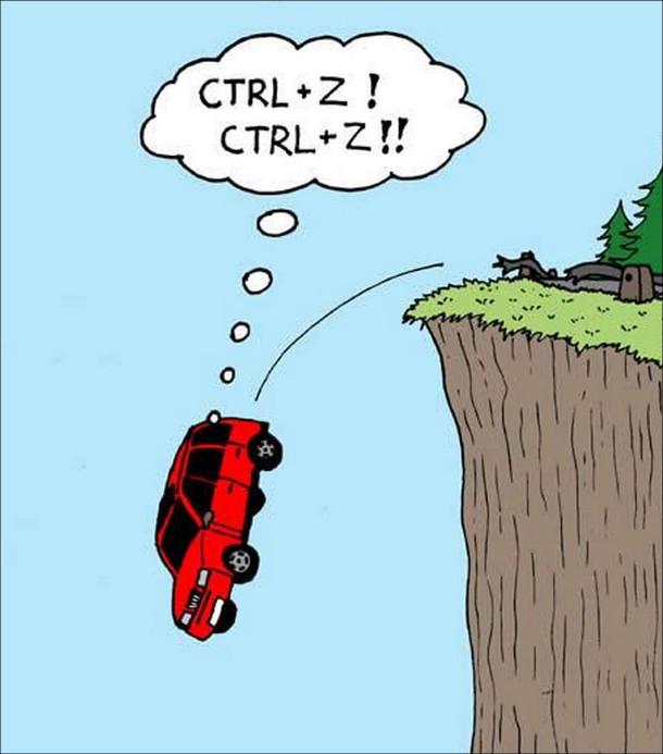 """Смішний малюнок Програміст за кермом. Автомобіль вилетів з дороги і падає в урвище. Водій-програміст подумки: """"Ctrl+Z! Ctrl+Z!!"""" (намагається відмінити цю дію)"""