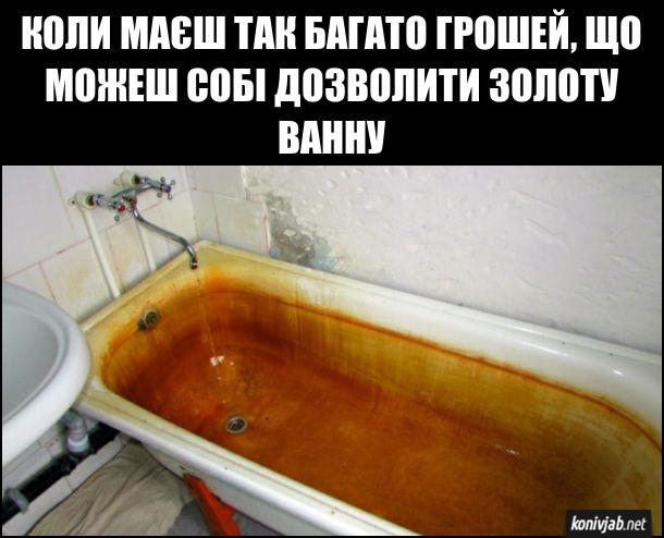 Жарт Ванна. Коли маєш так багато грошей, що можеш собі дозволити золоту ванну. Пожовтіла від води ванна
