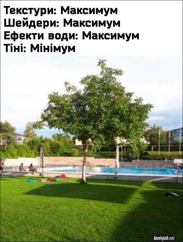 Геймерський мем. Фото з газоном, деревами і басейном, де під деревами прямокутна тінь. Це ніби гра коли налаштуєш її так: Текстури: Максимум; Шейдери: Максимум; Ефекти води: Максимум; Тіні: Мінімум